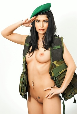 Army Model Mateja Gaspar trying new badass uniform