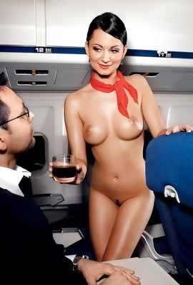 Sexy stewardess in sexy uniforms teasing clients